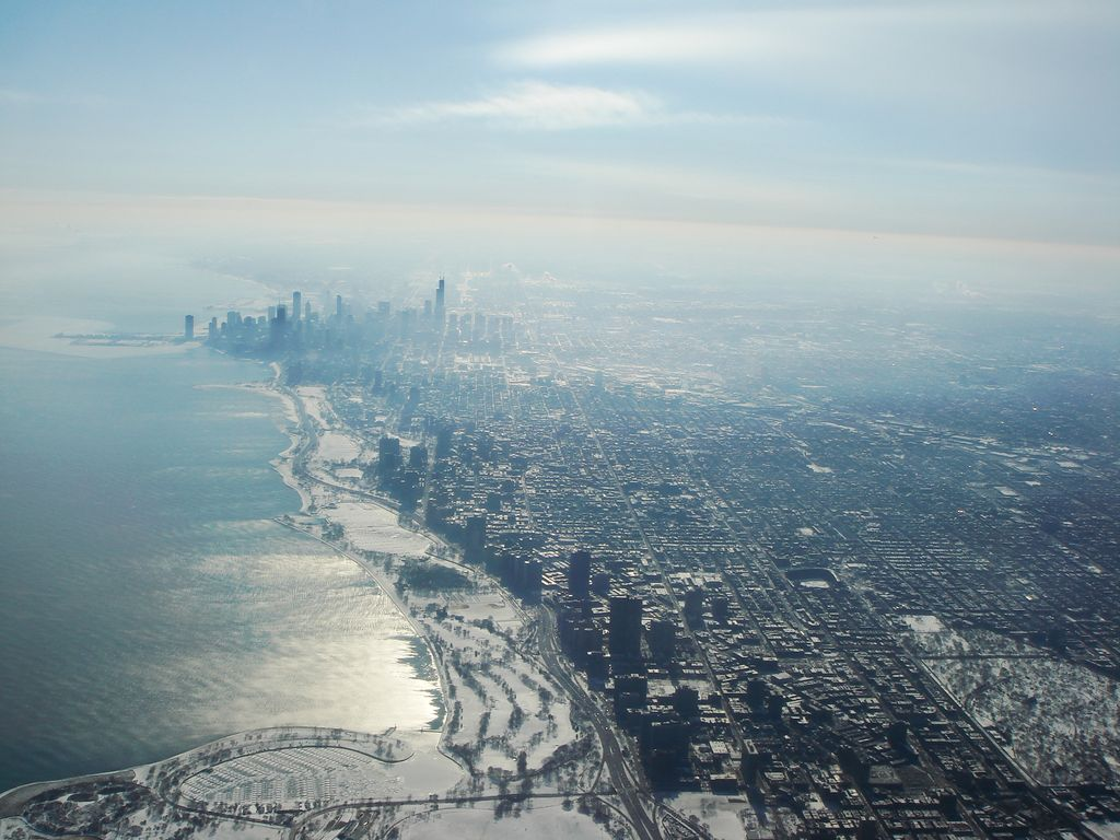 Icy Chicago from plane